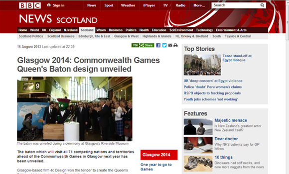 BBC News Article - Queen's Baton Reveal
