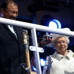 Prince Imran of Malaysia solves the puzzle of the Queen's Baton to reveal the message