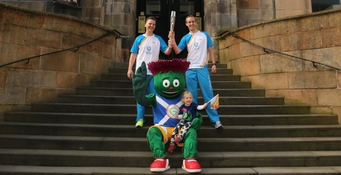 Day 37 Queen's Baton Bearers on the Steps of the GSA - William Mitchell & Michael Aldridge