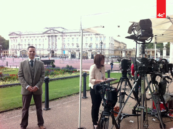 William Mitchell prepares for Live BBC Interview
