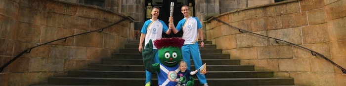 Day 37 Queen's Baton Bearers on the Steps of the GSA